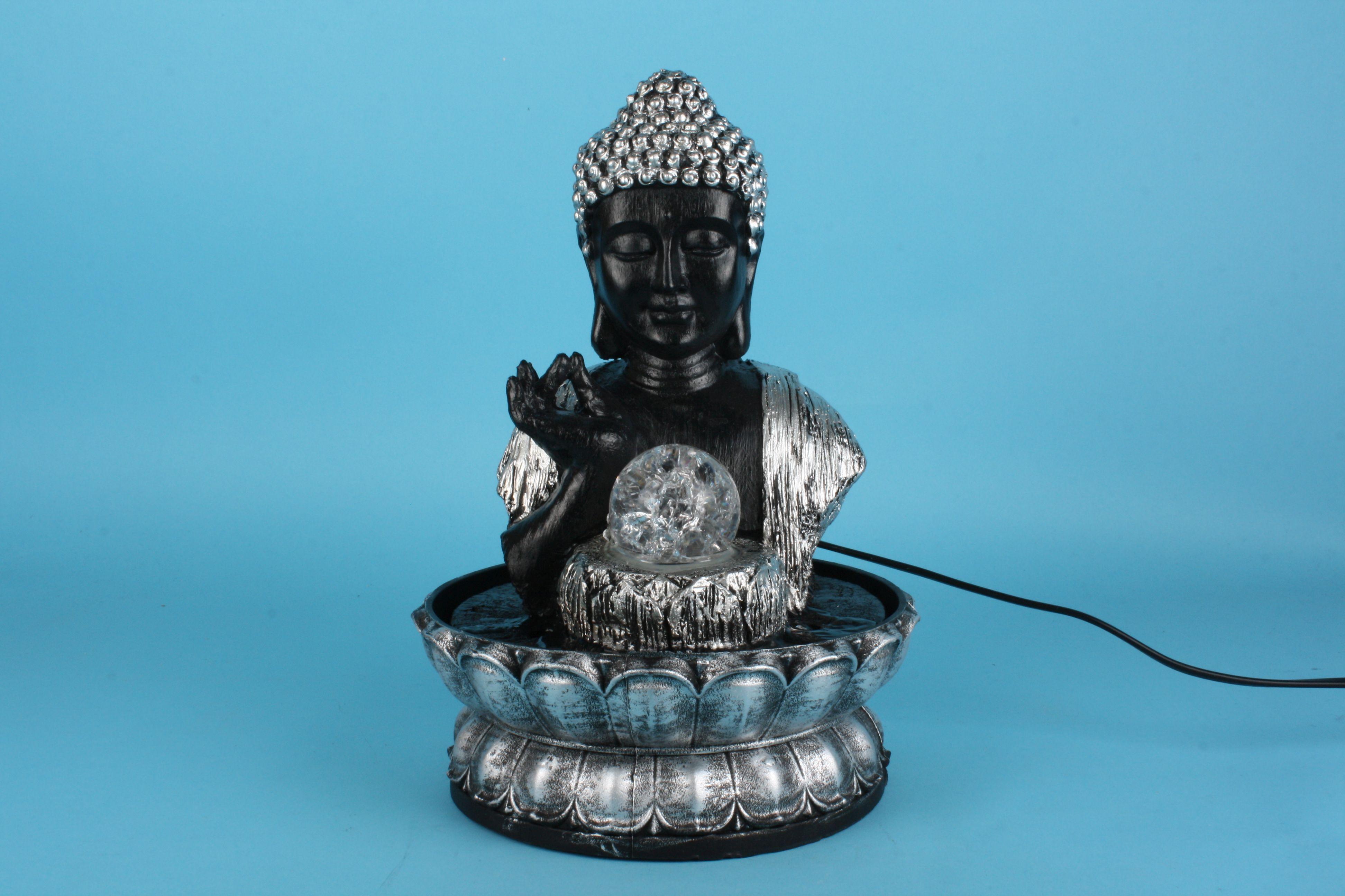 Boeddhabeeld Met Fontein.300101 Boeddha Zwart Verzilverd Met Fontein